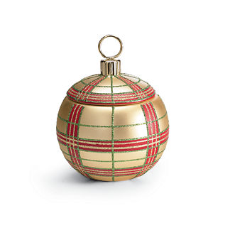 French Bee Gold Plaid Ornament Candle