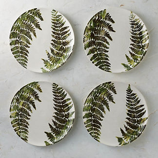 Felce Italian Ceramic Dinner Plates, Set of Four