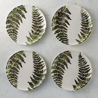 Felce Italian Ceramic Dinner Plates, Set of Four