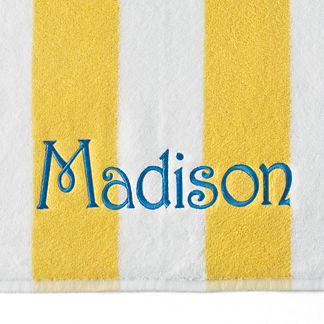Resort Cabana Stripe Beach Towel with Name