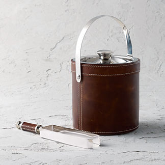 Leather Double Wall Ice Bucket and Tongs