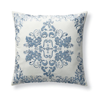 Aviana Velvet Embroidered Decorative Pillow Cover in Blue