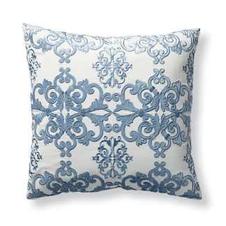 Aviana Embroidered Decorative Pillow Cover in Blue