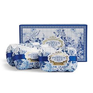 Portus Cale Gold & Blue Three-piece Soap Set