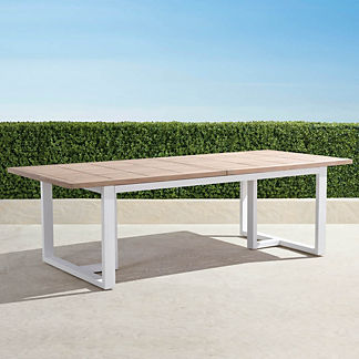 Pierce Expandable Teak Dining Table in Weathered Finish