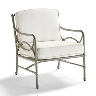 Tourelle Lounge Chair with Cushions in Pebble Gray