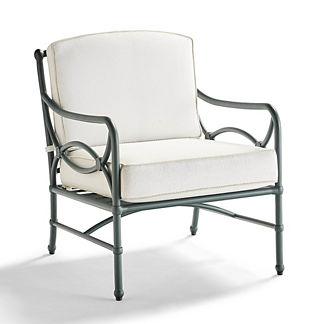 Tourelle Lounge Chair with Cushions in Gray Olive Finish, Special Order