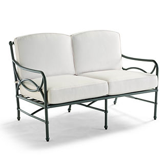 Tourelle Loveseat with Cushions in Gray Olive Finish, Special Order
