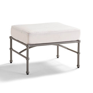 Tourelle Ottoman with Cushion in Pebble Gray Finish, Special Order