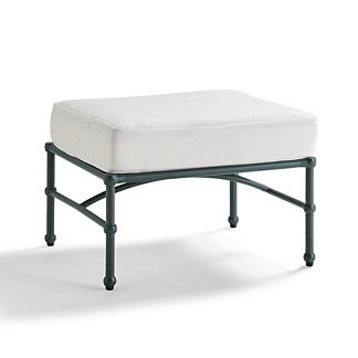Tourelle Ottoman with Cushion in Gray Olive Finish, Special Order