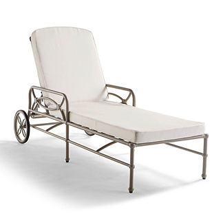 Tourelle Chaise with Cushions in Pebble Gray Finish, Special Order