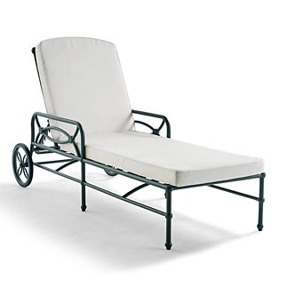 Tourelle Chaise with Cushions in Gray Olive Finish, Special Order