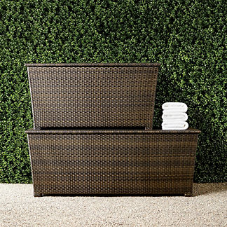 Tapered Wicker Storage Chests