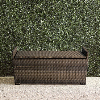 Tapered Wicker Storage Bench