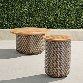 Harper Wicker Storage Tables in Pebble Finish