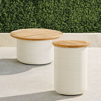 Harper Wicker Storage Tables in Ivory Finish