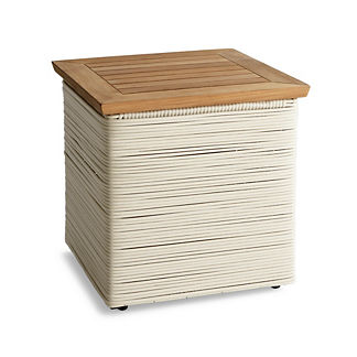 Harper Wicker Storage Square Side Table in Ivory Finish