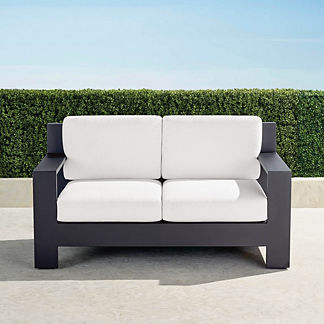 St. Kitts Loveseat with Cushions in Matte Black Aluminum, Special Order
