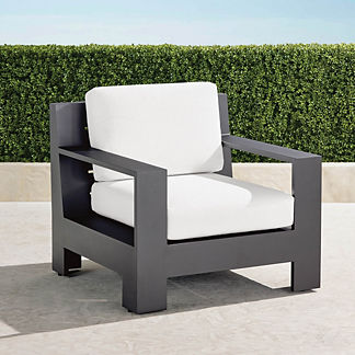 St. Kitts Lounge Chair with Cushions in Matte Black Aluminum