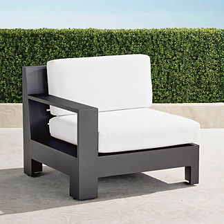 St. Kitts Left-arm Facing Chair with Cushions in Matte Black Aluminum, Special Order