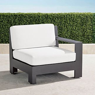 St. Kitts Right-arm Facing Chair with Cushions in Matte Black Aluminum, Special Order