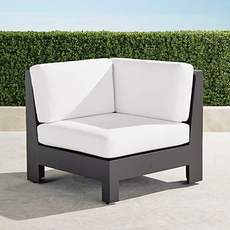 St. Kitts Corner Chair with Cushions in Matte Black Aluminum, Special Order