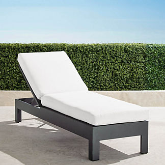 St. Kitts Chaise Lounge with Cushions in Matte Black Aluminum, Special Order