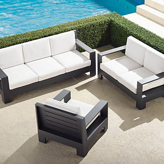St. Kitts 3-Pc. Sofa Set in Matte Black Aluminum