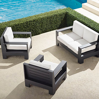 St. Kitts 3-Pc. Loveseat Set in Matte Black Aluminum