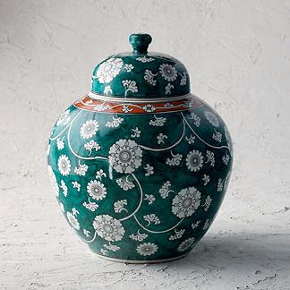 Ancient Emerald Lidded Vase