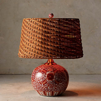 Coral Ming Low Pot Table Lamp with Wicker Shade