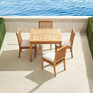 Small Cassara 5-pc. Teak Expandable Dining Table Set in Natural Finish