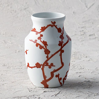 Red Blossoms Small Shaped Vase