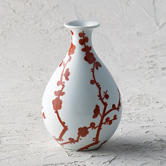 Red Blossoms Small Fluted Vase