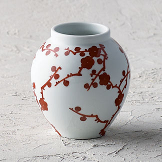Red Blossoms Small Round Open Vase