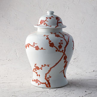 Red Blossoms Ginger Jar