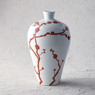 Red Blossoms Temple Vase