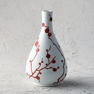 Red Blossoms Single Gourd Vase