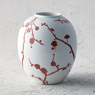 Red Blossoms Round Vase