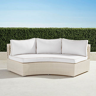Pasadena II Sofa with Cushions in Ivory Finish, Special Order