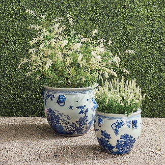 Blue Ming Handpainted Ceramic Planters