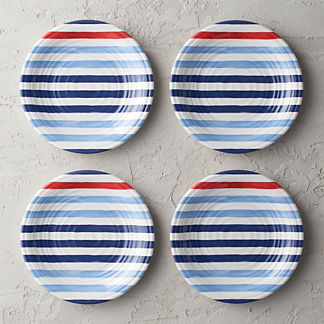 Nautical Stripes Melamine Salad Plates, Set of Four