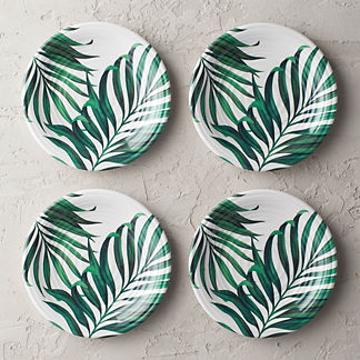 Palm Leaves Melamine Salad Plates, Set of Four