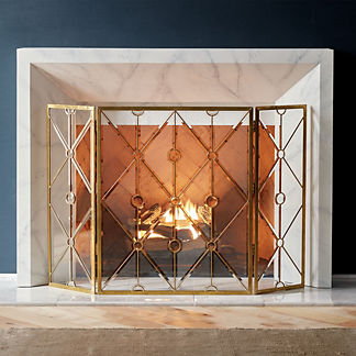 Bellamy Beveled Glass Fireplace Screen