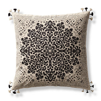 Lenora Medallion Embroidered Decorative Pillow Cover
