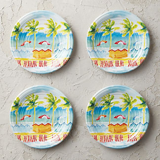 Beachside Melamine Salad Plates, Set of Four