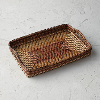 Rattan Nito Rectangle Tray with Handles