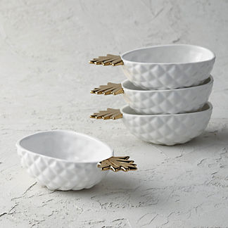 Pineapple Salad Bowls, Set of Four