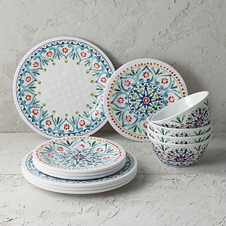 Raya Melamine 12-Piece Dinnerware Set