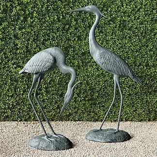 Verdigris Heron Sculptures